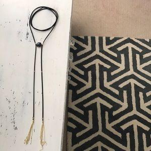 Wrap leather tassel choker